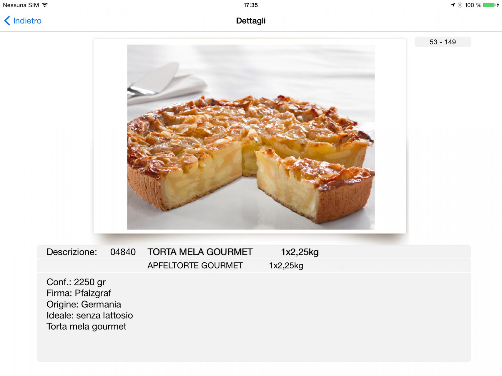 Visualizzazione dettagli del prodotto con foto e descrizione completa