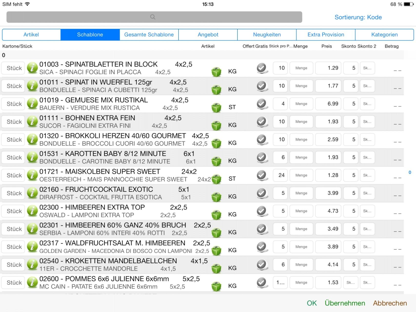 Artikelauswahl über Schablonen (Auswahllisten)